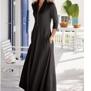 Soft Surrounding Swingtime Dress Black Gold Zipper